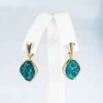 Opal and Diamond earrings, 14kt yellow gold