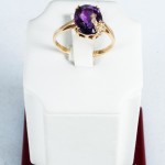Amethyst and Diamond ring, 14kt yellow gold