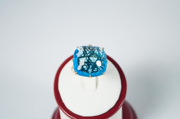 Blue Topaz (23ct) and Black Diamond (24ct) 14kt gold ring by Zeghani