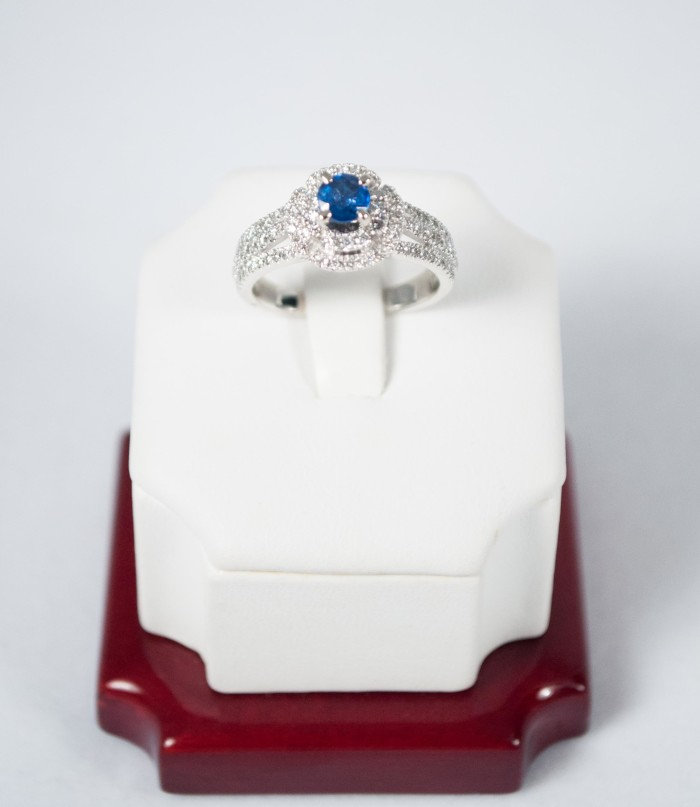 Blue Sapphire (60ct)  and Double Halo Diamond (61ct) 14kt ring